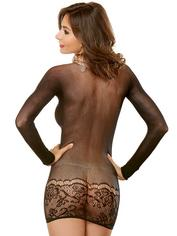 Dreamgirl Amazing 2-in-1 Crotchless Bodystocking and Mini Dress, Black, hi-res