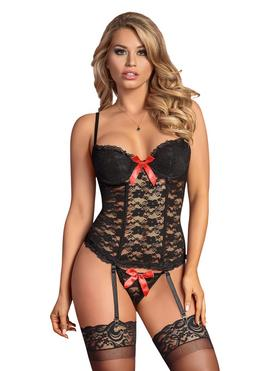 Ensemble bustier string dentelle Luv noir, Exposed