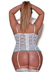 Exposed Luv Plus Size White Floral Lace Bustier and G-String Set, White, hi-res