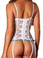 Exposed Luv White Floral Lace Bustier and G-String Set, White, hi-res