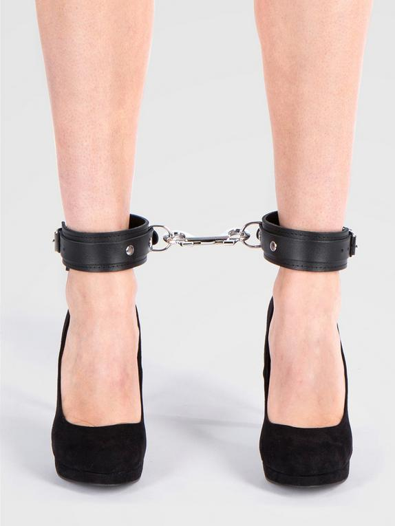 Bondage Boutique Soft Leather Ankle Cuffs, Black, hi-res