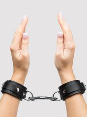 Bondage Boutique Soft Leather Handcuffs, Black, hi-res