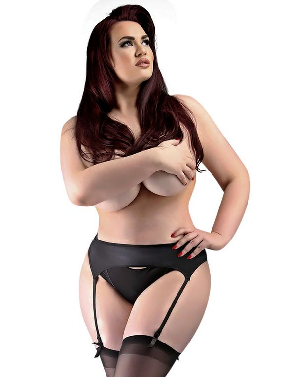 Miss Naughty Plus Size Satin Suspender Belt, Black, hi-res