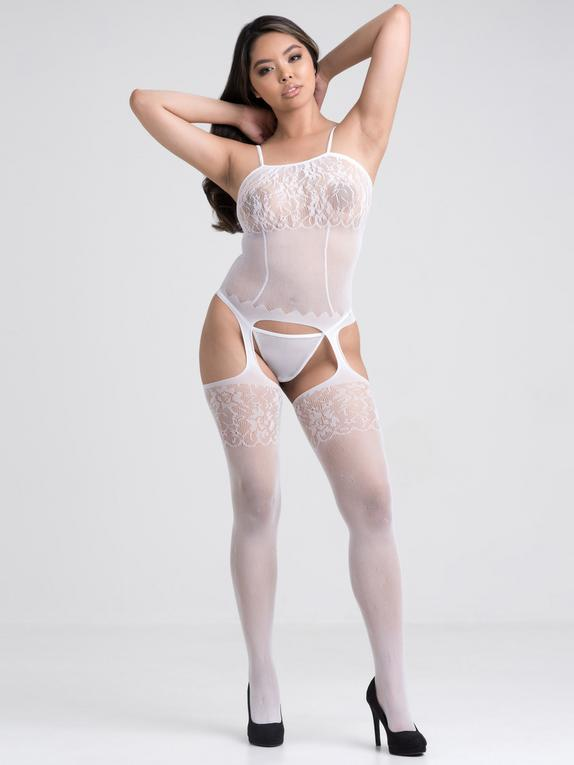 Lovehoney Up All Night Lace Bodystocking, White, hi-res