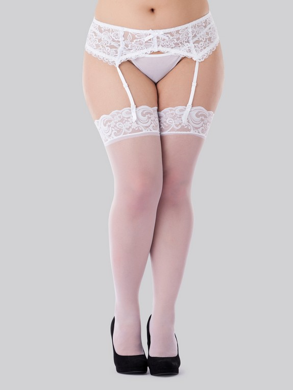 Lovehoney Sheer Black Lace Top Thigh High Stockings, White, hi-res