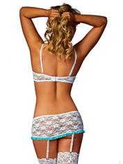 Exposed Luv 1/2 Cup White Floral Lace Bra and Garter Set, White, hi-res