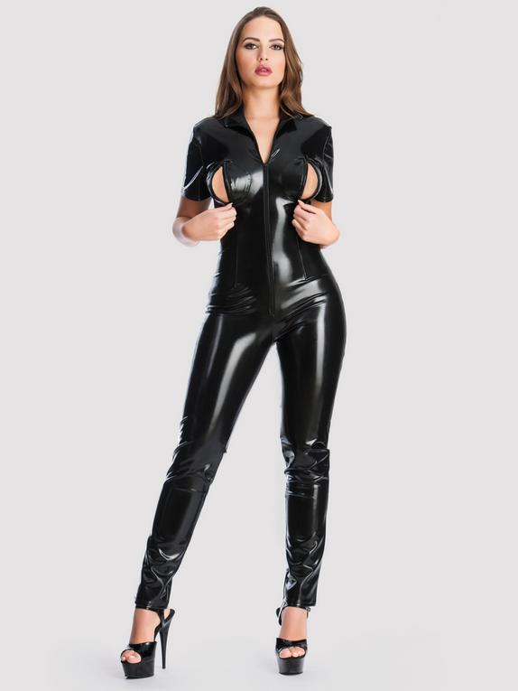 Easy-On Latex Catsuit with Bust Zippers, Black, hi-res