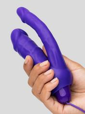 Double O Heaven 10 Function Vibrating Silicone Double Penetration Dildo, Purple, hi-res