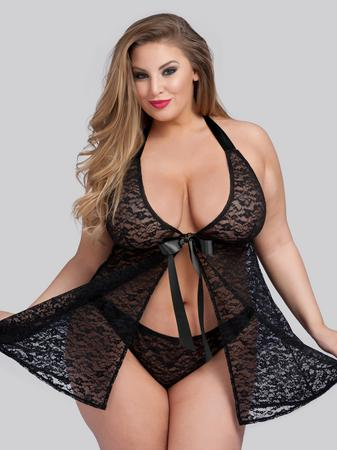 Lovehoney Plus Size Unwrap Me Black Lace Babydoll