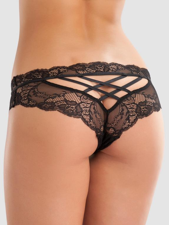 Lovehoney Criss-Cross Crotchless Knickers, Black, hi-res