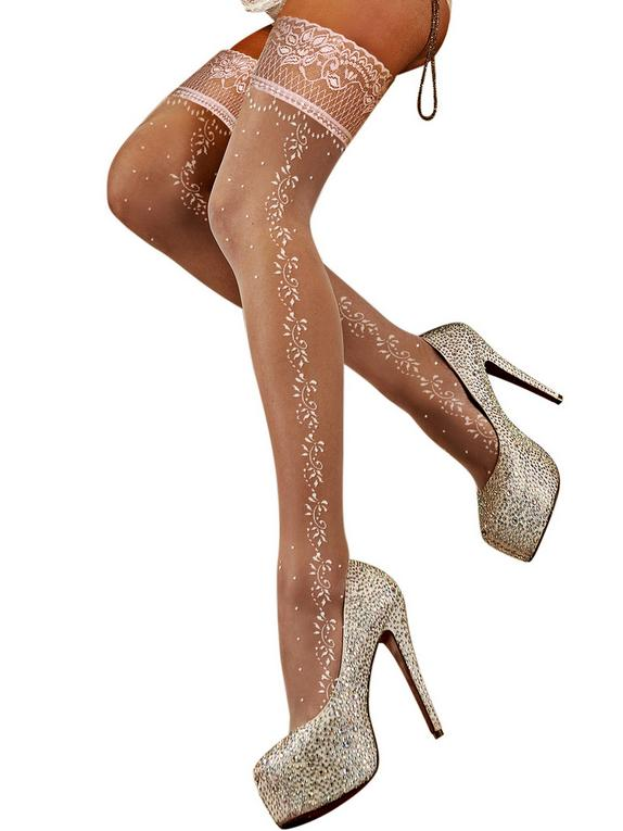 Ballerina Hush Hush White Patterned Hold-Ups, White, hi-res