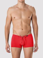 LHM Red Lace-Up Boxer Shorts, Red, hi-res