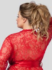 Lovehoney Flaunt Me Black Lace Robe, Red, hi-res