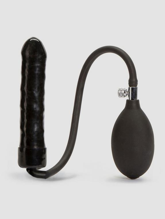 Cock Locker Inflatable Dildo 6 Inch, Black, hi-res