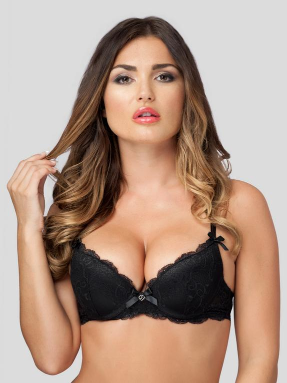 Lovehoney Love Me Lace Push-Up Bra, Black, hi-res