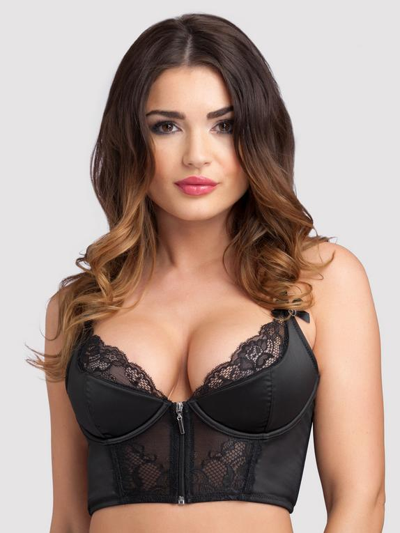 Lovehoney Front-Fastening Black Satin Longline Bra, Black, hi-res