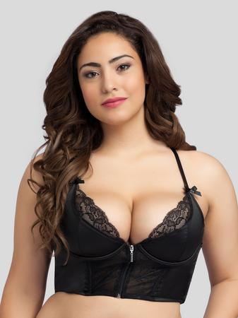 Lovehoney Plus Size Front-Fastening Satin Longline Bra Black