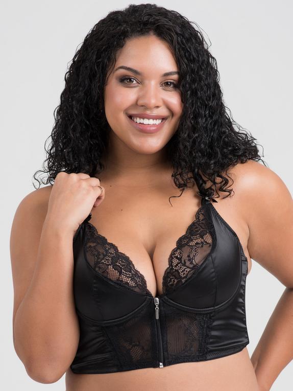 Soutien-gorge demi-corset fermeture frontale satin noir, Lovehoney, Noir, hi-res