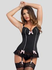 Lovehoney Seduce Me Push-Up Basque Set, Black, hi-res