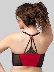 Lovehoney Front-Fastening Black Satin Longline Bra, Red, hi-res