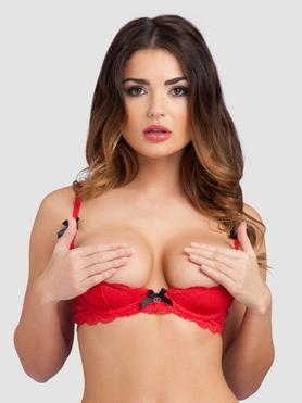 Lovehoney Love Me Lace 1/2 Cup Bra Red