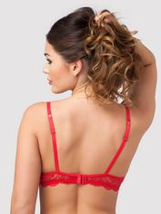 Lovehoney Love Me Lace 1/2 Cup Bra, Red, hi-res