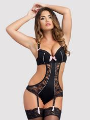Lovehoney Seduce Me Push-Up Crotchless Cut-Out Teddy, Black, hi-res
