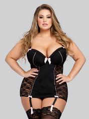Lovehoney Seduce Me Push-Up Chemise Set, Black, hi-res