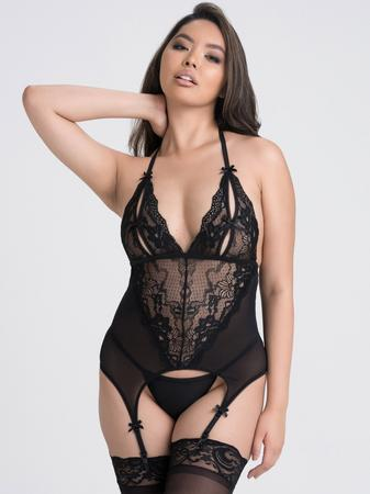 Lovehoney Peek-A-Boo Merry Widow Black Bustier Set