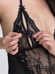 Lovehoney Peek-A-Boo Merry Widow Black Bustier Set , Black, hi-res