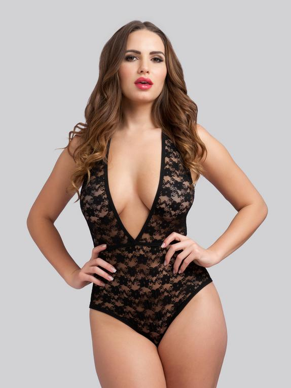 Lovehoney Crotchless Deep Plunge Black Lace Body, Black, hi-res