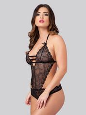 Lovehoney Crotchless Open-Back Lace Body, Black, hi-res
