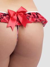 Lovehoney Fantasy Plaid Ruffle Crotchless Thong, Red, hi-res