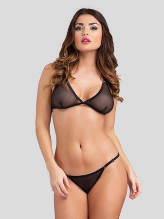 Lovehoney Sheer Triangle Bra and Crotchless G-String Set