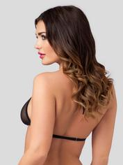 Lovehoney Sheer Triangle Bra and Crotchless G-String Set, Black, hi-res
