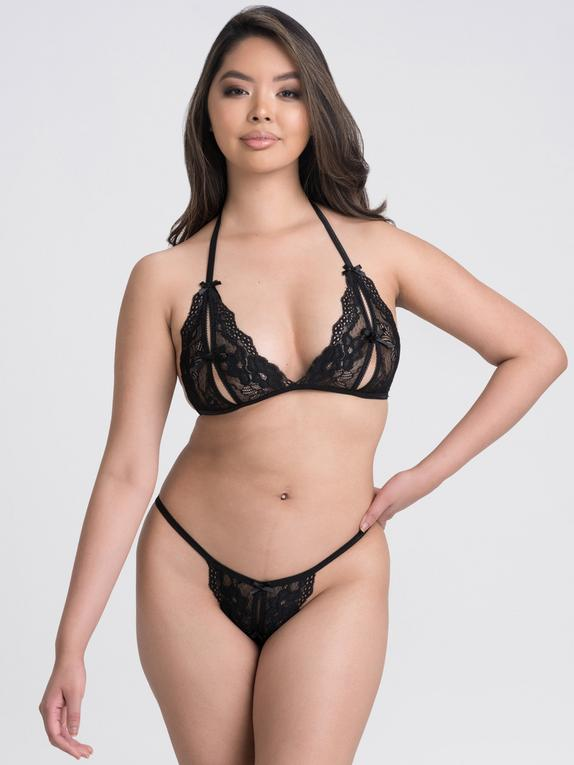 Lovehoney Lace Peek-a-Boo Bra and Crotchless G-String, Black, hi-res