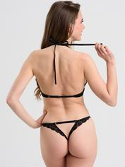 Lovehoney Plus Size Underwired Lace Triangle Bra and Crotchless G-String Set, Black, hi-res