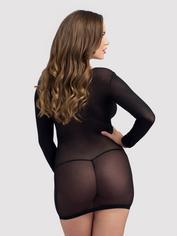 Lovehoney Long Sleeve Black Mini Dress, Black, hi-res
