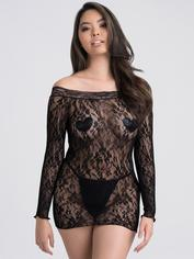 Lovehoney Off the Shoulder Lace Mini Dress, Black, hi-res