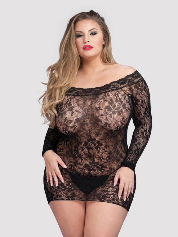 Lovehoney Off the Shoulder Lace Mini Dress, Black, hi-res