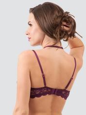 Lovehoney Indulge Me Purple Lace Halterneck Bra, Purple, hi-res