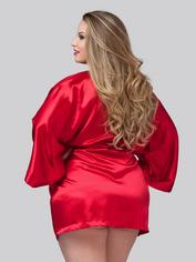 Lovehoney Short Black Satin Robe, Red, hi-res
