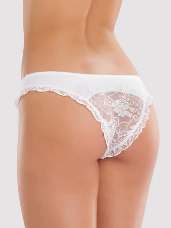 Lovehoney Crotchless White Lace-Back Panties