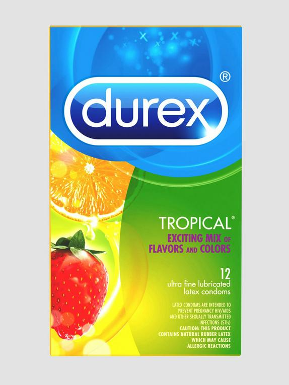 Durex Tropical Mixed Flavored Condoms (12 Count), , hi-res