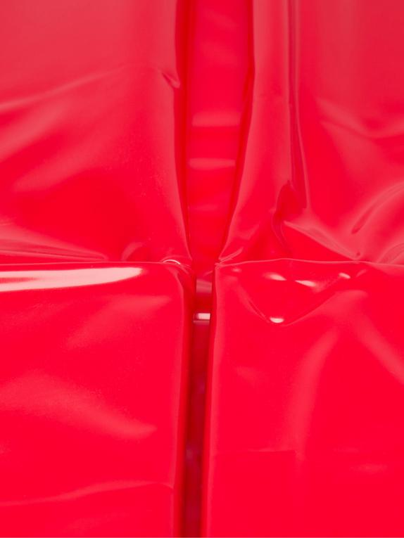 Sexy Shiny Vinyl Flat King Size Bedsheet, Red, hi-res