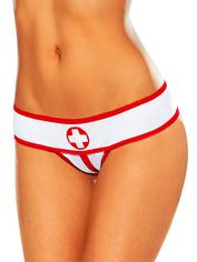 Escante Crotchless Nurse Briefs, White, hi-res