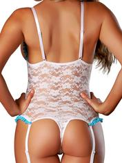 Exposed Luv Floral Lace Crotchless Open Cup Body Set, White, hi-res