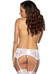 Dreamgirl White Stretch Lace Suspender Belt, White, hi-res