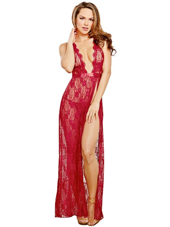 Dreamgirl Lace Side Slit Gown, Red, hi-res