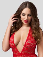 Lovehoney Crotchless Deep Plunge Red Lace Body, Red, hi-res